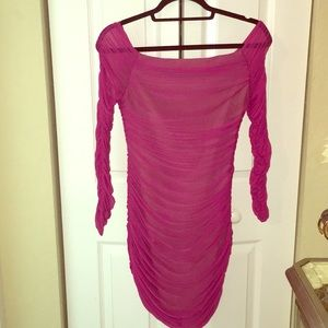 Hot pink sheer bodycon off the shoulder dress